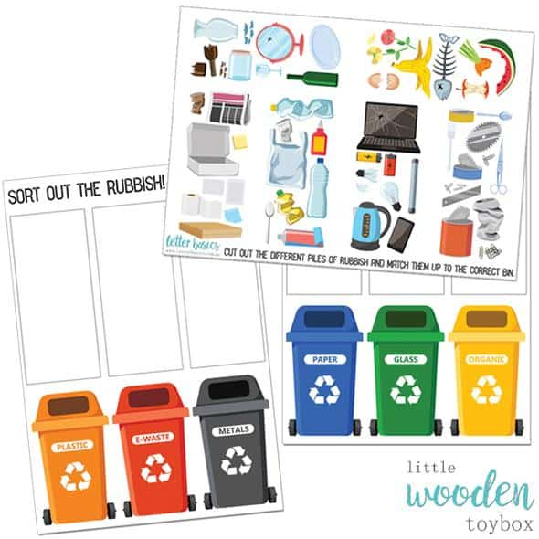 printable Reduce reuse and recycling activity for kids