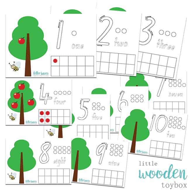 Letter Basics Counting Apples 1-10 Printable Activity